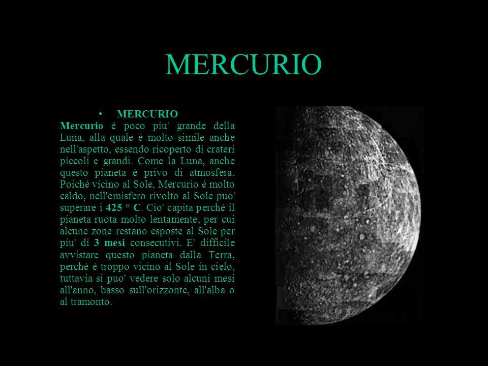 MERCURIO MERCURIO Mercurio é poco piu' grande della Luna, alla quale é molto simile anche nell'aspetto, essendo ricoperto di crateri piccoli e grandi.