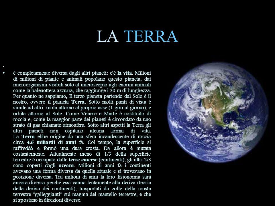 LA TERRA é completamente diversa dagli altri pianeti: c'é la vita. Milioni di milioni di piante e animali popolano questo pianeta, dai microorganismi