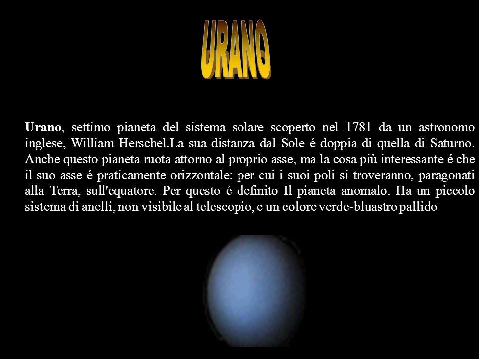 Urano, settimo pianeta del sistema solare scoperto nel 1781 da un astronomo inglese, William Herschel.La sua distanza dal Sole é doppia di quella di S