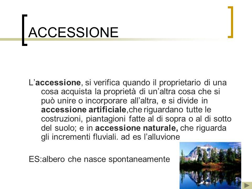 ACCESSIONE Laccessione, si verifica quando il proprietario di una cosa acquista la proprietà di unaltra cosa che si può unire o incorporare allaltra,