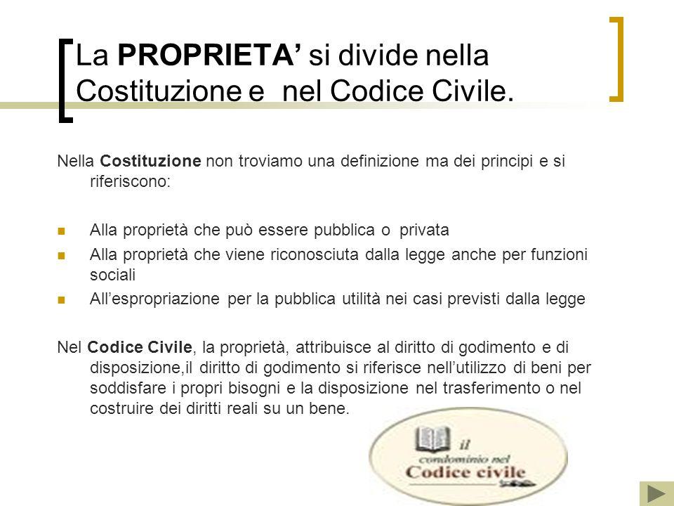La PROPRIETA si divide nella Costituzione e nel Codice Civile. Nella Costituzione non troviamo una definizione ma dei principi e si riferiscono: Alla