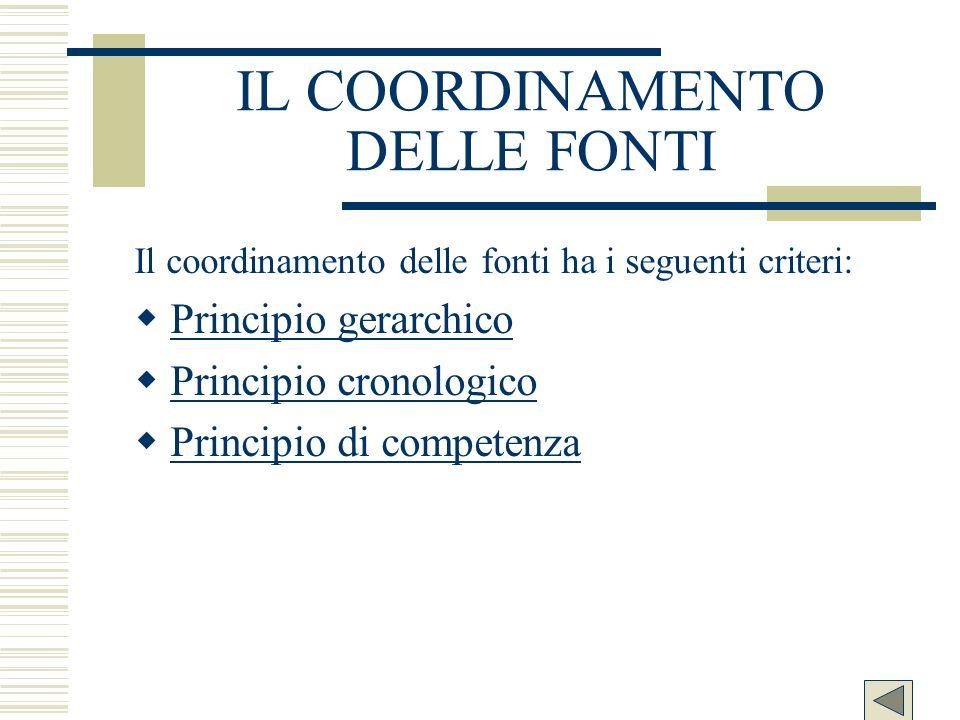IL COORDINAMENTO DELLE FONTI Il coordinamento delle fonti ha i seguenti criteri: Principio gerarchico Principio cronologico Principio di competenza