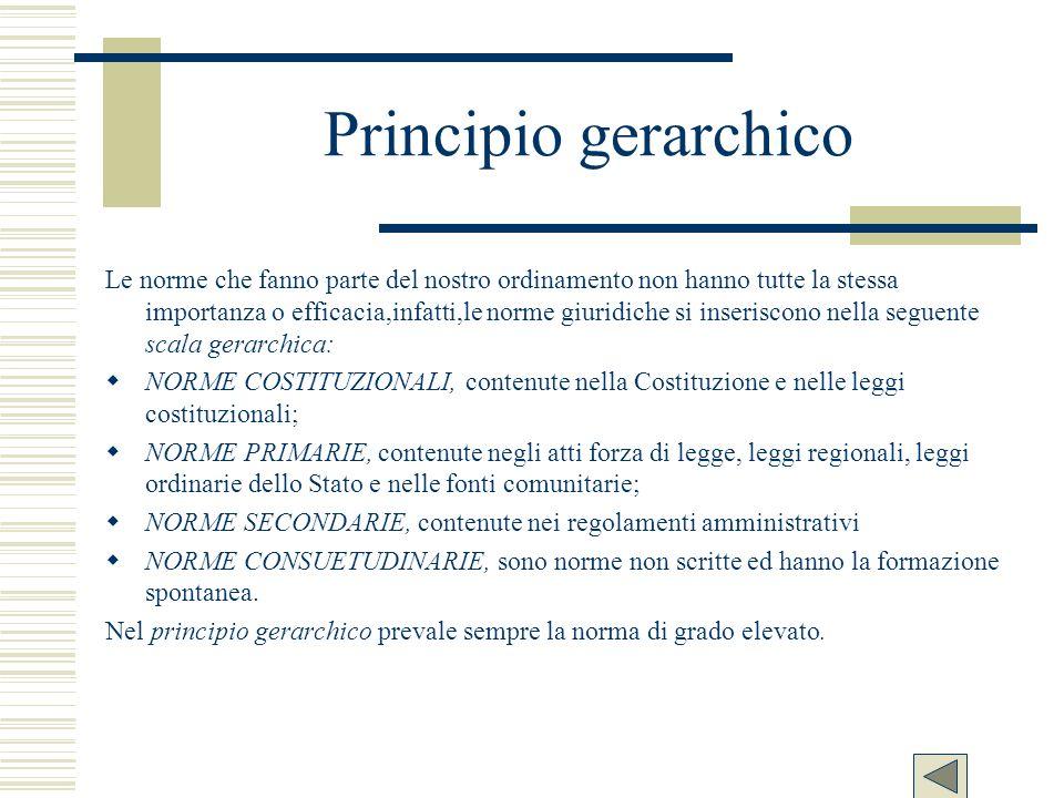 Principio gerarchico Le norme che fanno parte del nostro ordinamento non hanno tutte la stessa importanza o efficacia,infatti,le norme giuridiche si i