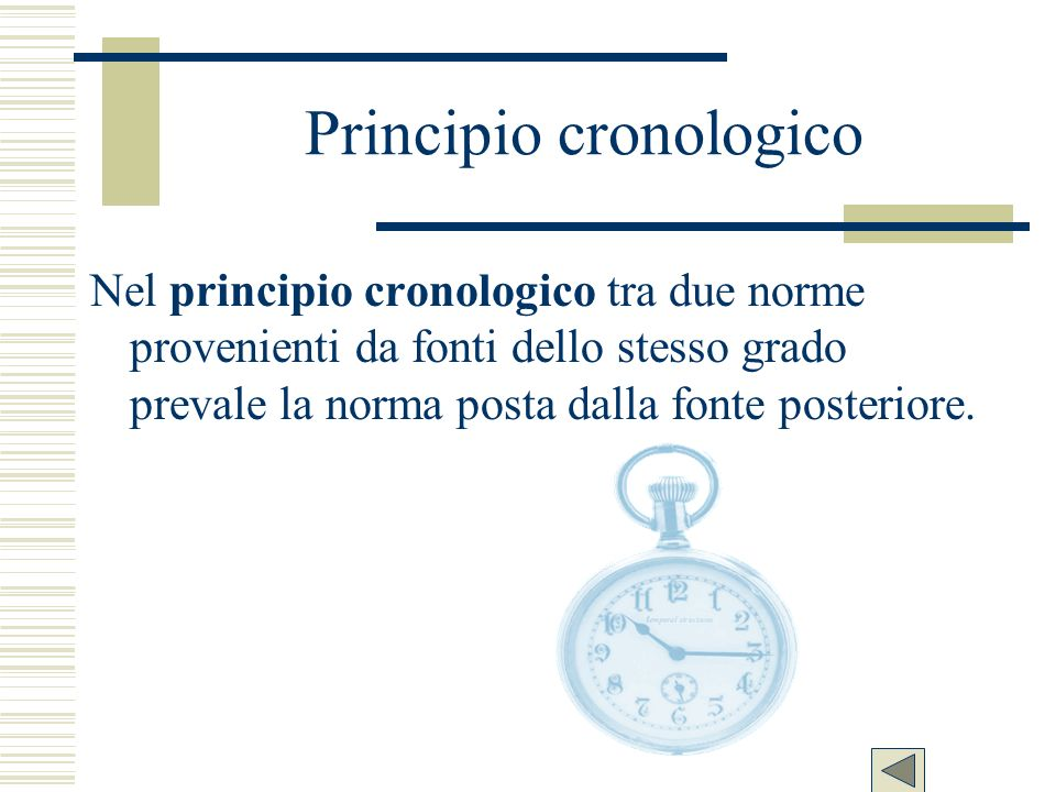 Principio cronologico Nel principio cronologico tra due norme provenienti da fonti dello stesso grado prevale la norma posta dalla fonte posteriore.