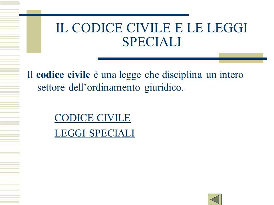 IL CODICE CIVILE E LE LEGGI SPECIALI Il codice civile è una legge che disciplina un intero settore dellordinamento giuridico. CODICE CIVILE LEGGI SPEC