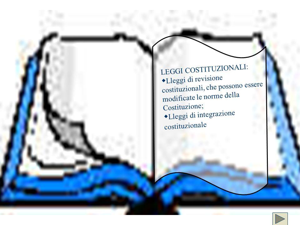 LEGGI COSTITUZIONALI: Lleggi di revisione costituzionali, che possono essere modificate le norme della Costituzione; Lleggi di integrazione costituzio