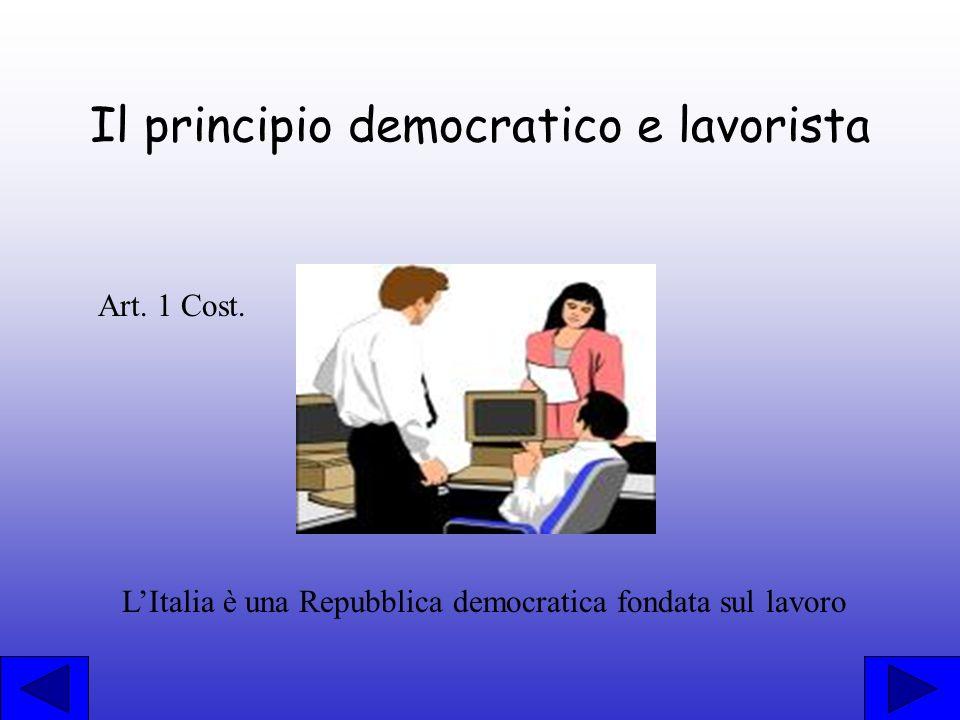Il principio democratico e lavorista Art. 1 Cost. LItalia è una Repubblica democratica fondata sul lavoro