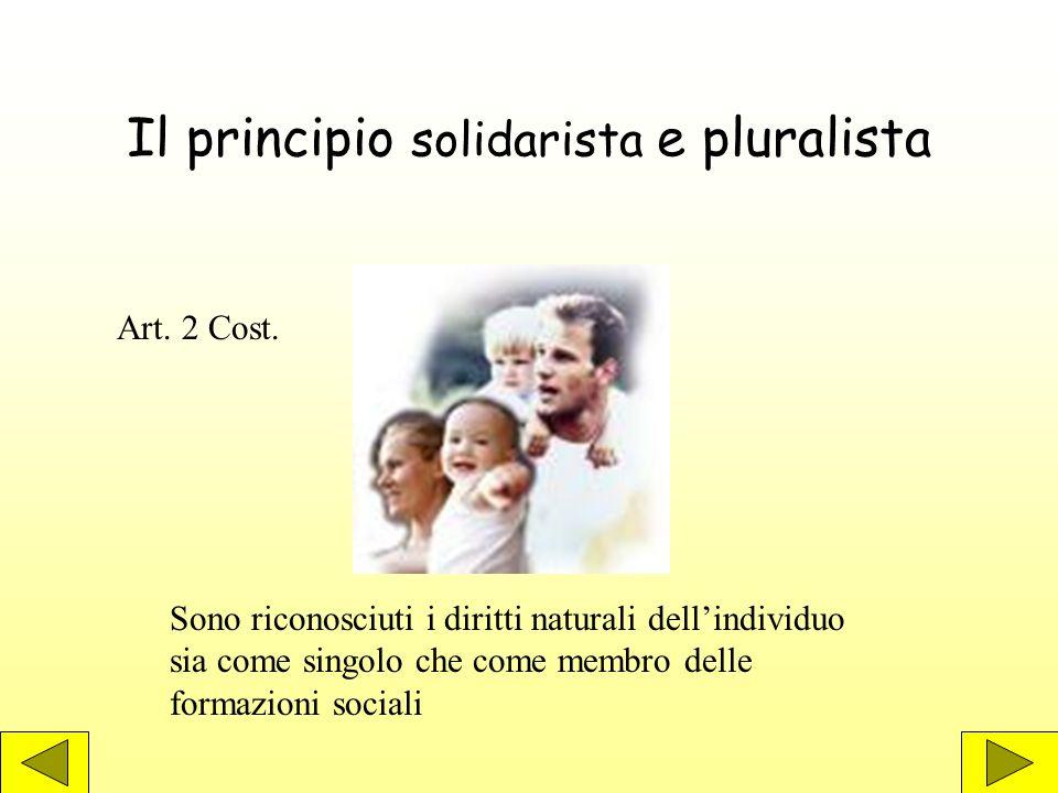 Il principio solidarista e pluralista Sono riconosciuti i diritti naturali dellindividuo sia come singolo che come membro delle formazioni sociali Art