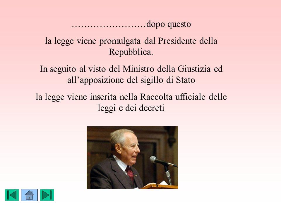 ……………………dopo questo la legge viene promulgata dal Presidente della Repubblica.