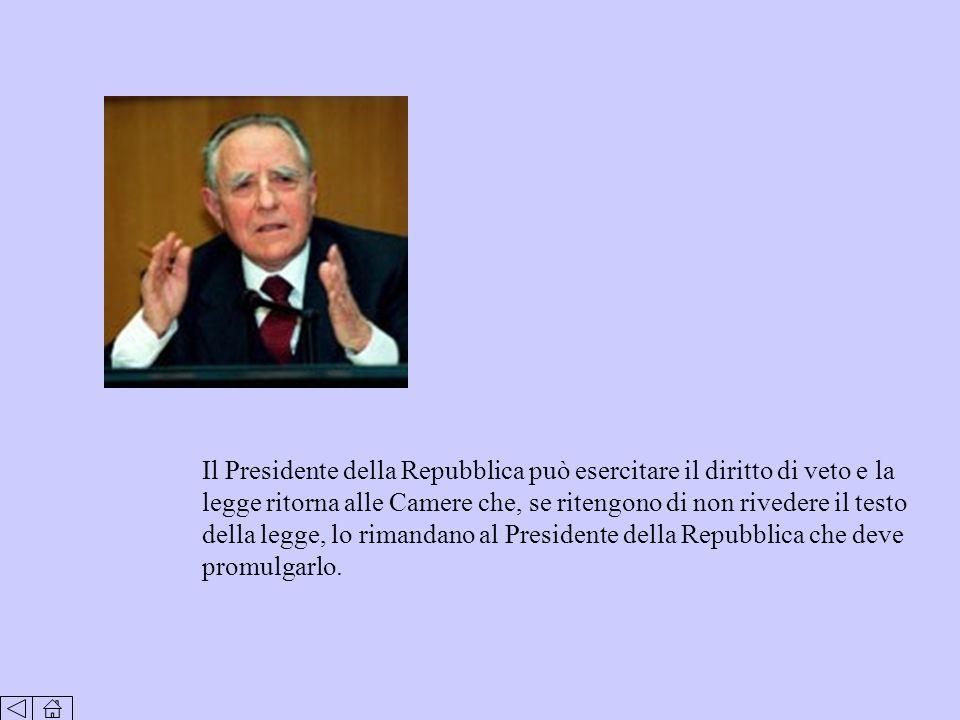 Il Presidente della Repubblica può esercitare il diritto di veto e la legge ritorna alle Camere che, se ritengono di non rivedere il testo della legge, lo rimandano al Presidente della Repubblica che deve promulgarlo.