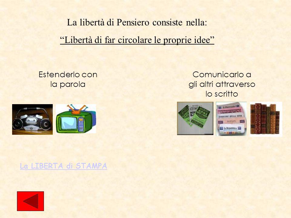 LA LIBERTA DI MANIFESTAZIONE DEL PENSIERO La libertà di Parola Art.