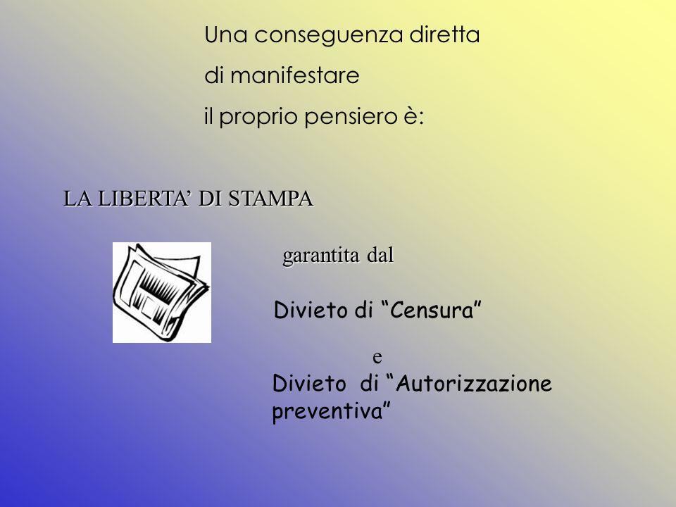 Una conseguenza diretta di manifestare il proprio pensiero è: LA LIBERTA DI STAMPA garantita dal Divieto di Censura e Divieto di Autorizzazione preventiva