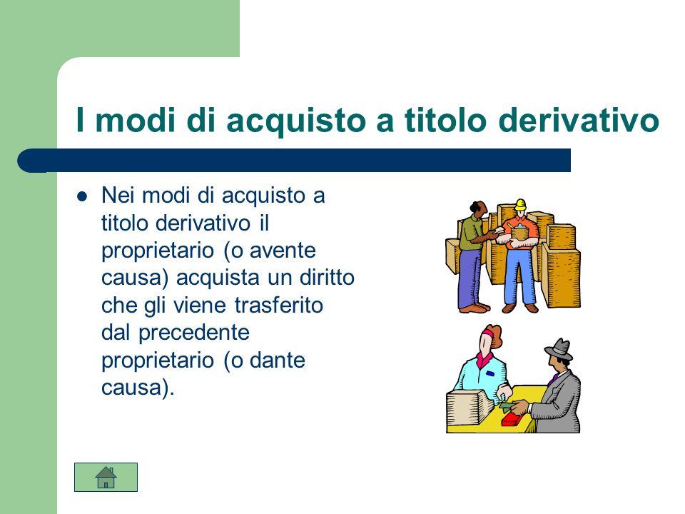 I modi di acquisto a titolo derivativo Nei modi di acquisto a titolo derivativo il proprietario (o avente causa) acquista un diritto che gli viene tra