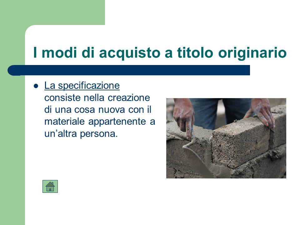 I modi di acquisto a titolo originario La specificazione consiste nella creazione di una cosa nuova con il materiale appartenente a unaltra persona.