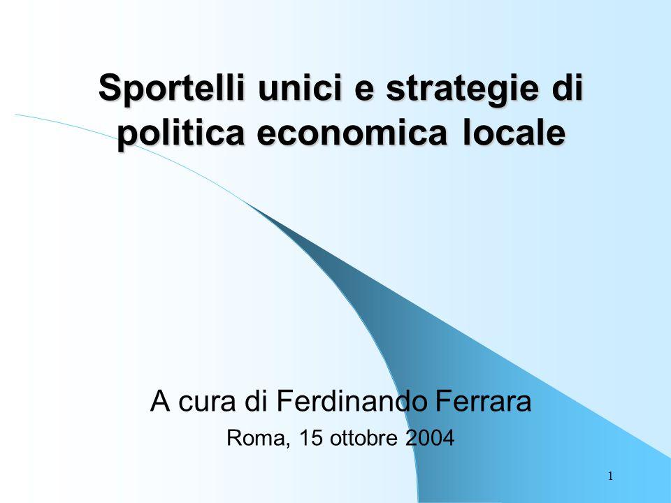1 Sportelli unici e strategie di politica economica locale A cura di Ferdinando Ferrara Roma, 15 ottobre 2004