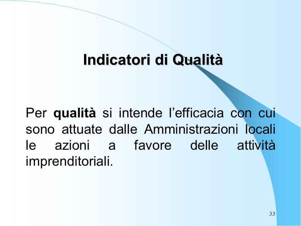 33 Indicatori di Qualità Per qualità si intende lefficacia con cui sono attuate dalle Amministrazioni locali le azioni a favore delle attività imprenditoriali.