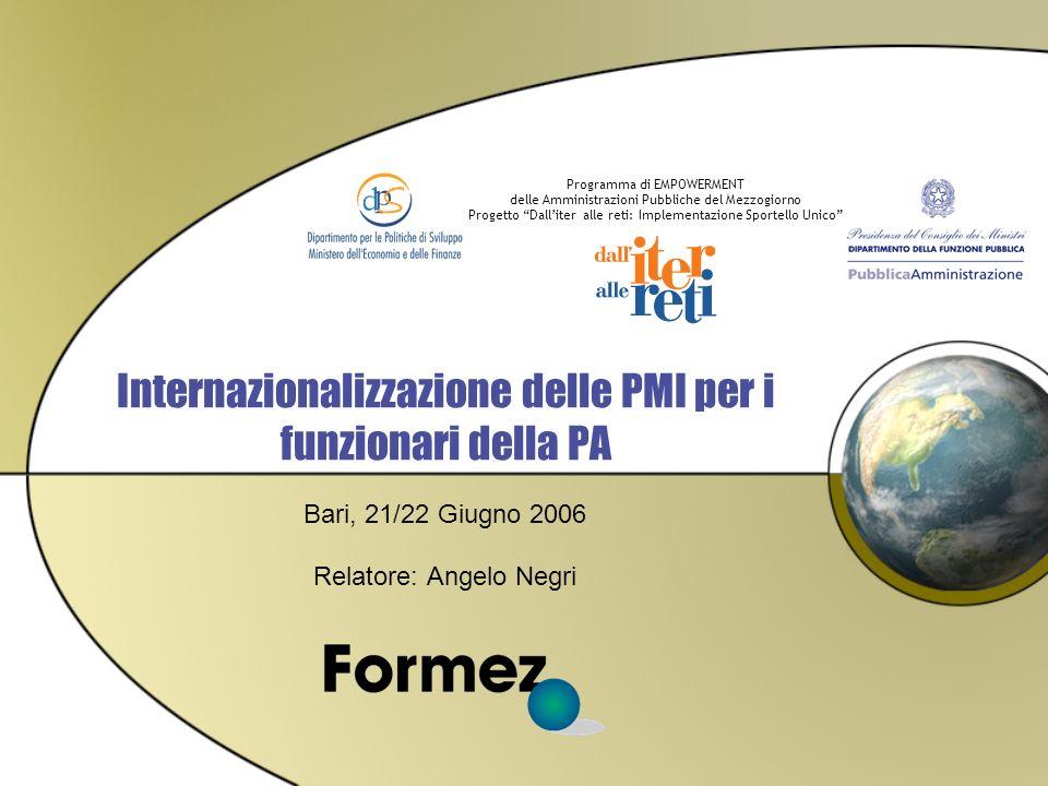 Programma di EMPOWERMENT delle Amministrazioni Pubbliche del Mezzogiorno Progetto Dalliter alle reti: Implementazione Sportello Unico Internazionalizzazione delle PMI per i funzionari della PA Bari, 21/22 Giugno 2006 Relatore: Angelo Negri