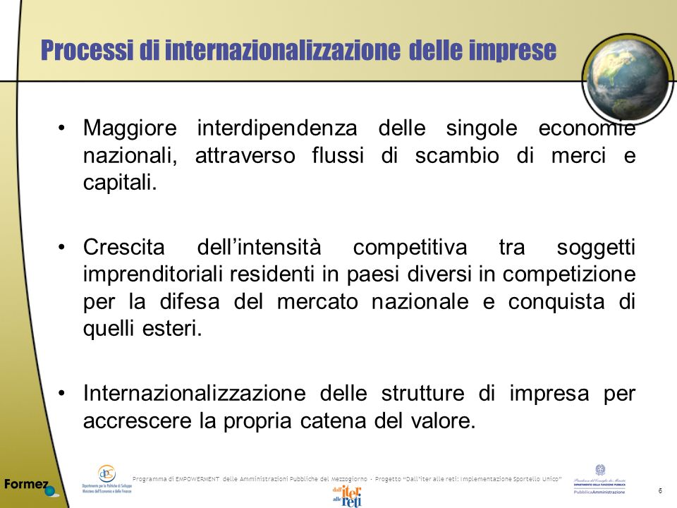 Programma di EMPOWERMENT delle Amministrazioni Pubbliche del Mezzogiorno - Progetto Dalliter alle reti: Implementazione Sportello Unico 7 Principali motivazioni di internazionalizzazione delle PMI Saturazione dei mercati nazionali.