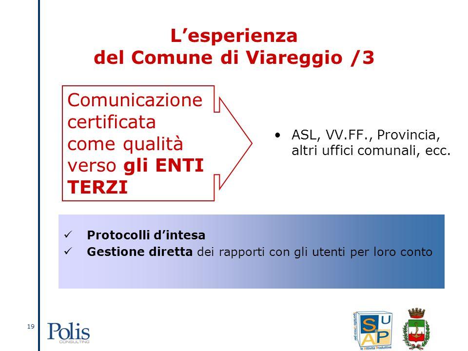 19 Lesperienza del Comune di Viareggio /3 ASL, VV.FF., Provincia, altri uffici comunali, ecc.