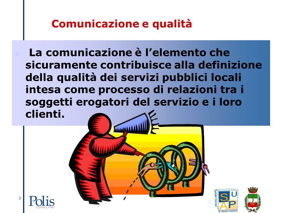 3 La comunicazione è lelemento che sicuramente contribuisce alla definizione della qualità dei servizi pubblici locali intesa come processo di relazioni tra i soggetti erogatori del servizio e i loro clienti.
