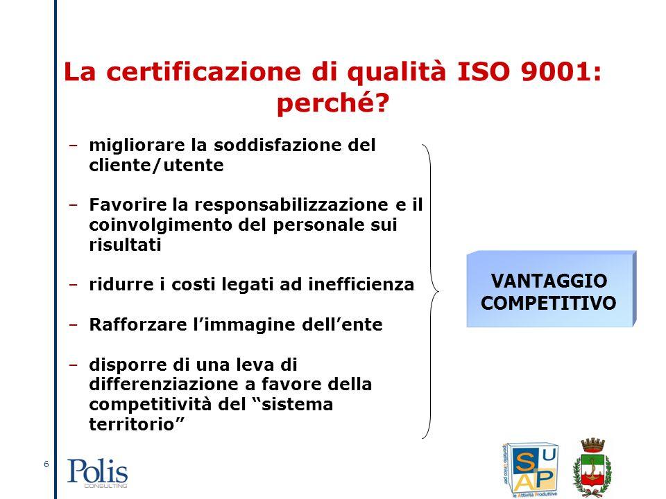 6 VANTAGGIO COMPETITIVO La certificazione di qualità ISO 9001: perché.