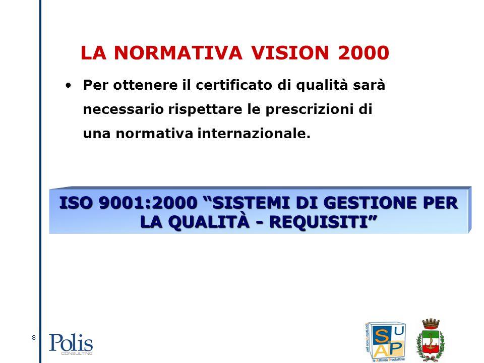 8 LA NORMATIVA VISION 2000 Per ottenere il certificato di qualità sarà necessario rispettare le prescrizioni di una normativa internazionale.