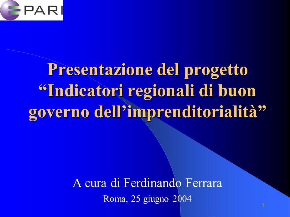 1 Presentazione del progetto Indicatori regionali di buon governo dellimprenditorialità A cura di Ferdinando Ferrara Roma, 25 giugno 2004