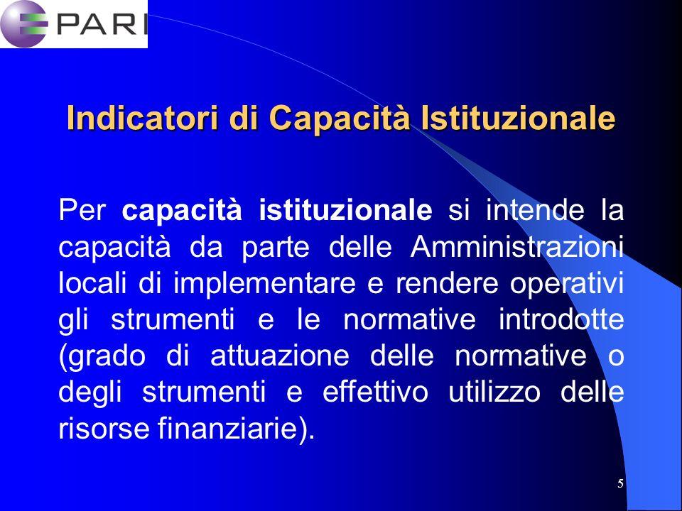 5 Indicatori di Capacità Istituzionale Per capacità istituzionale si intende la capacità da parte delle Amministrazioni locali di implementare e rendere operativi gli strumenti e le normative introdotte (grado di attuazione delle normative o degli strumenti e effettivo utilizzo delle risorse finanziarie).