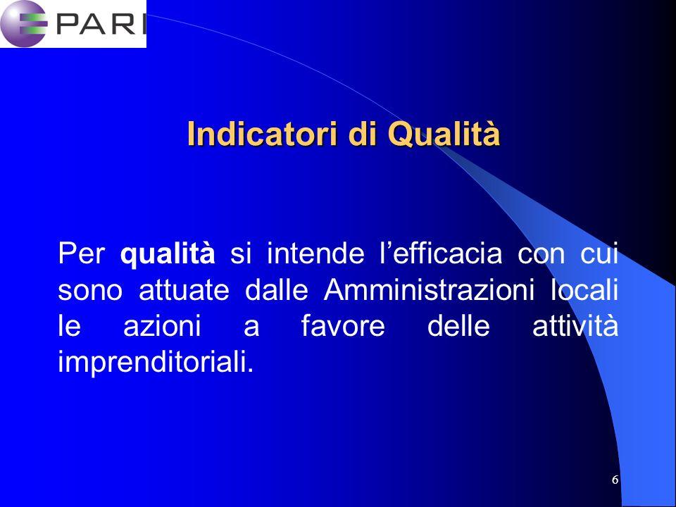 6 Indicatori di Qualità Per qualità si intende lefficacia con cui sono attuate dalle Amministrazioni locali le azioni a favore delle attività imprenditoriali.
