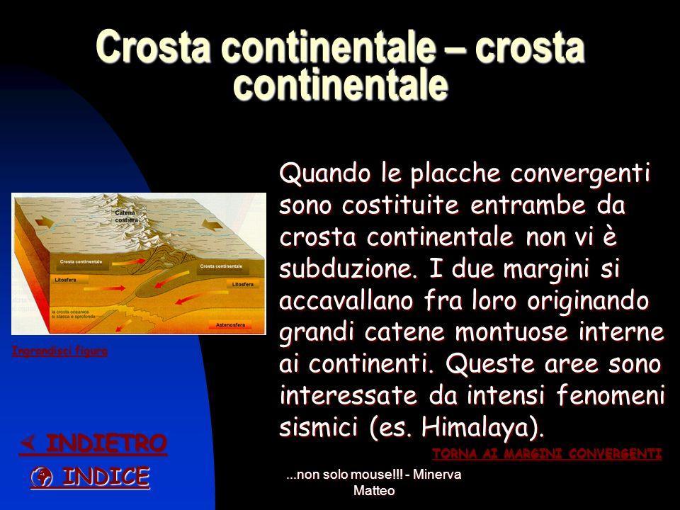 ...non solo mouse!!! - Minerva Matteo Crosta continentale - crosta oceanica Nel caso di scontro fra una crosta oceanica e una continentale è quella oc