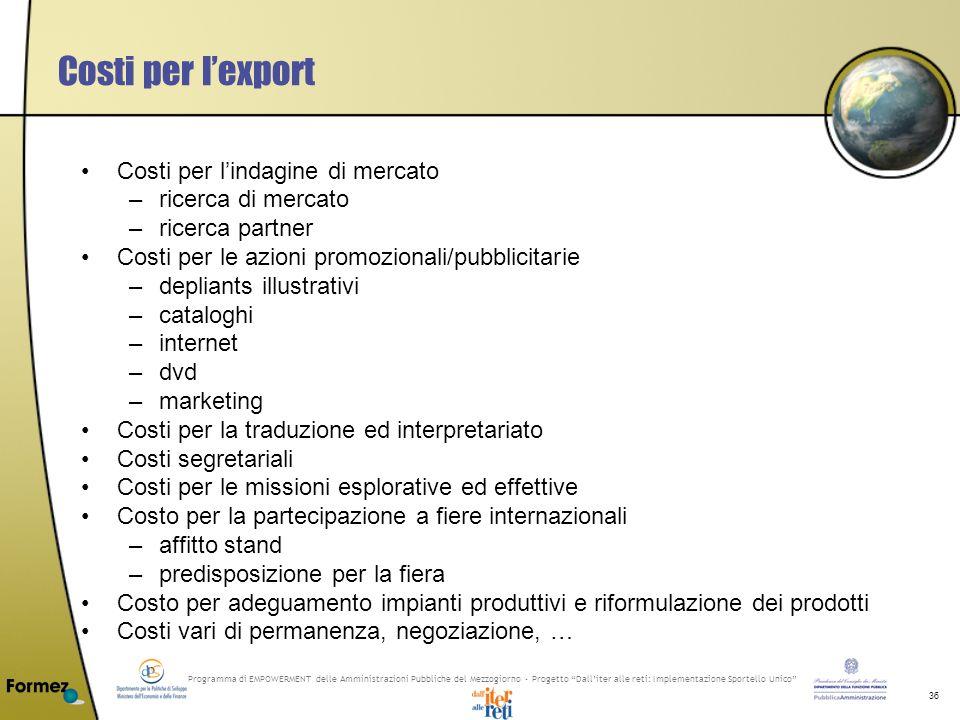 Programma di EMPOWERMENT delle Amministrazioni Pubbliche del Mezzogiorno - Progetto Dalliter alle reti: Implementazione Sportello Unico 36 Costi per l