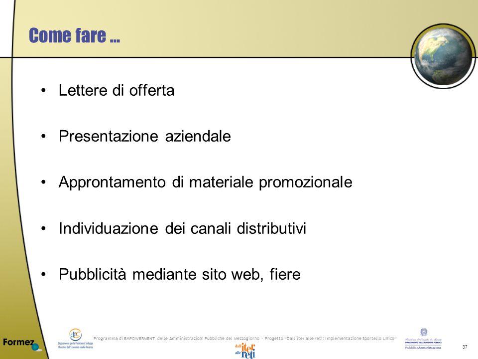 Programma di EMPOWERMENT delle Amministrazioni Pubbliche del Mezzogiorno - Progetto Dalliter alle reti: Implementazione Sportello Unico 37 Come fare …