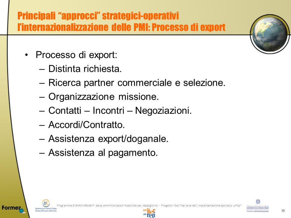 Programma di EMPOWERMENT delle Amministrazioni Pubbliche del Mezzogiorno - Progetto Dalliter alle reti: Implementazione Sportello Unico 39 Principali