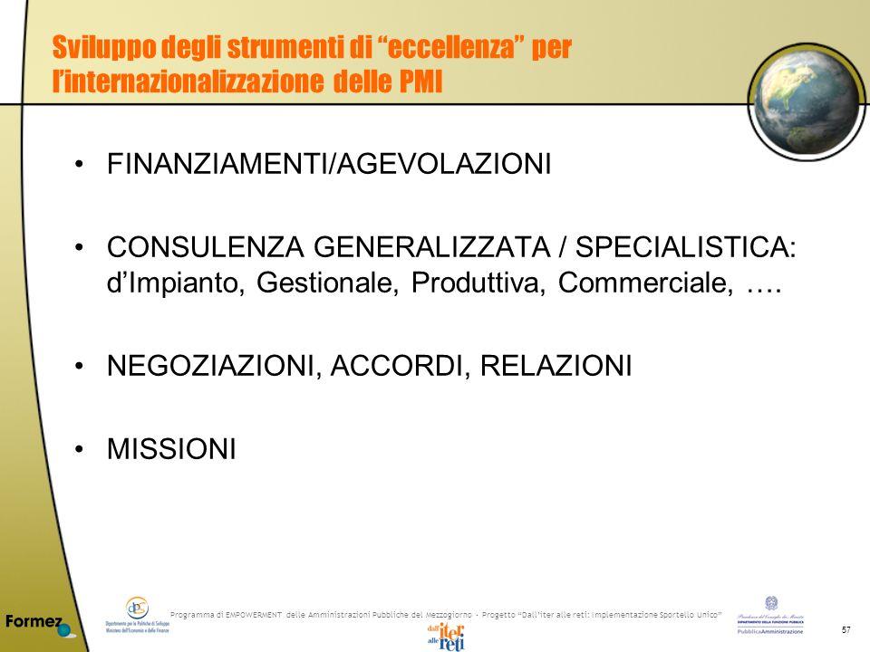 Programma di EMPOWERMENT delle Amministrazioni Pubbliche del Mezzogiorno - Progetto Dalliter alle reti: Implementazione Sportello Unico 57 Sviluppo degli strumenti di eccellenza per linternazionalizzazione delle PMI FINANZIAMENTI/AGEVOLAZIONI CONSULENZA GENERALIZZATA / SPECIALISTICA: dImpianto, Gestionale, Produttiva, Commerciale, ….