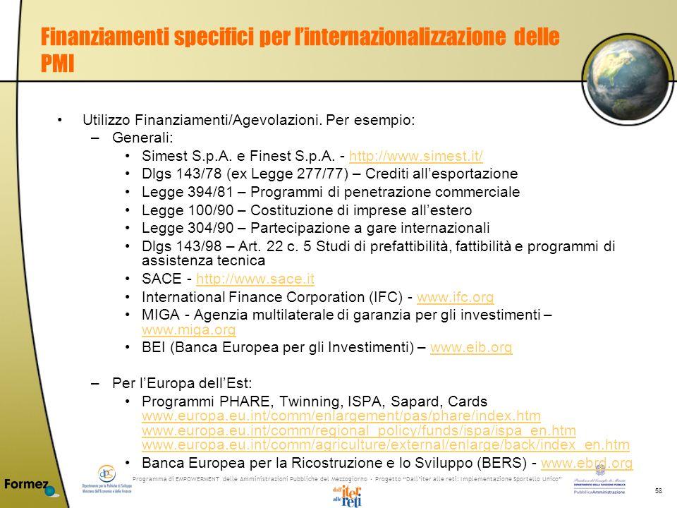 Programma di EMPOWERMENT delle Amministrazioni Pubbliche del Mezzogiorno - Progetto Dalliter alle reti: Implementazione Sportello Unico 58 Finanziamenti specifici per linternazionalizzazione delle PMI Utilizzo Finanziamenti/Agevolazioni.