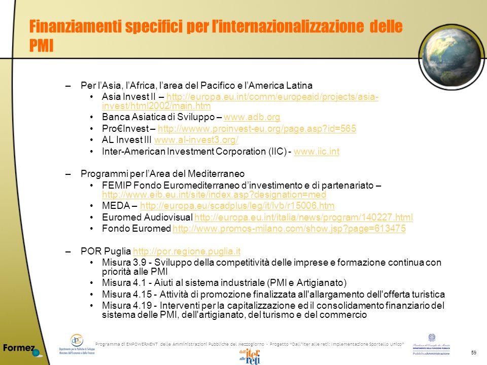 Programma di EMPOWERMENT delle Amministrazioni Pubbliche del Mezzogiorno - Progetto Dalliter alle reti: Implementazione Sportello Unico 59 Finanziamenti specifici per linternazionalizzazione delle PMI –Per lAsia, lAfrica, larea del Pacifico e lAmerica Latina Asia Invest II – http://europa.eu.int/comm/europeaid/projects/asia- invest/html2002/main.htmhttp://europa.eu.int/comm/europeaid/projects/asia- invest/html2002/main.htm Banca Asiatica di Sviluppo – www.adb.orgwww.adb.org ProInvest – http://wwww.proinvest-eu.org/page.asp id=565http://wwww.proinvest-eu.org/page.asp id=565 AL Invest III www.al-invest3.org/www.al-invest3.org/ Inter-American Investment Corporation (IIC) - www.iic.intwww.iic.int –Programmi per lArea del Mediterraneo FEMIP Fondo Euromediterraneo dinvestimento e di partenariato – http://www.eib.eu.int/site/index.asp designation=med http://www.eib.eu.int/site/index.asp designation=med MEDA – http://europa.eu/scadplus/leg/it/lvb/r15006.htmhttp://europa.eu/scadplus/leg/it/lvb/r15006.htm Euromed Audiovisual http://europa.eu.int/italia/news/program/140227.htmlhttp://europa.eu.int/italia/news/program/140227.html Fondo Euromed http://www.promos-milano.com/show.jsp page=613475http://www.promos-milano.com/show.jsp page=613475 –POR Puglia http://por.regione.puglia.ithttp://por.regione.puglia.it Misura 3.9 - Sviluppo della competitività delle imprese e formazione continua con priorità alle PMI Misura 4.1 - Aiuti al sistema industriale (PMI e Artigianato) Misura 4.15 - Attività di promozione finalizzata all allargamento dell offerta turistica Misura 4.19 - Interventi per la capitalizzazione ed il consolidamento finanziario del sistema delle PMI, dell artigianato, del turismo e del commercio