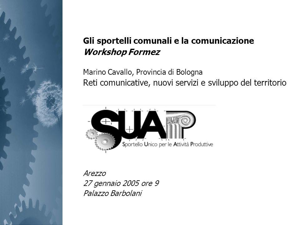 Gli sportelli comunali e la comunicazione Workshop Formez Marino Cavallo, Provincia di Bologna Reti comunicative, nuovi servizi e sviluppo del territo