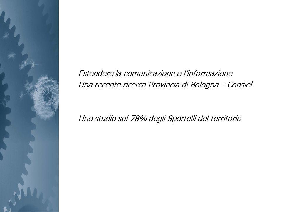 Estendere la comunicazione e linformazione Una recente ricerca Provincia di Bologna – Consiel Uno studio sul 78% degli Sportelli del territorio
