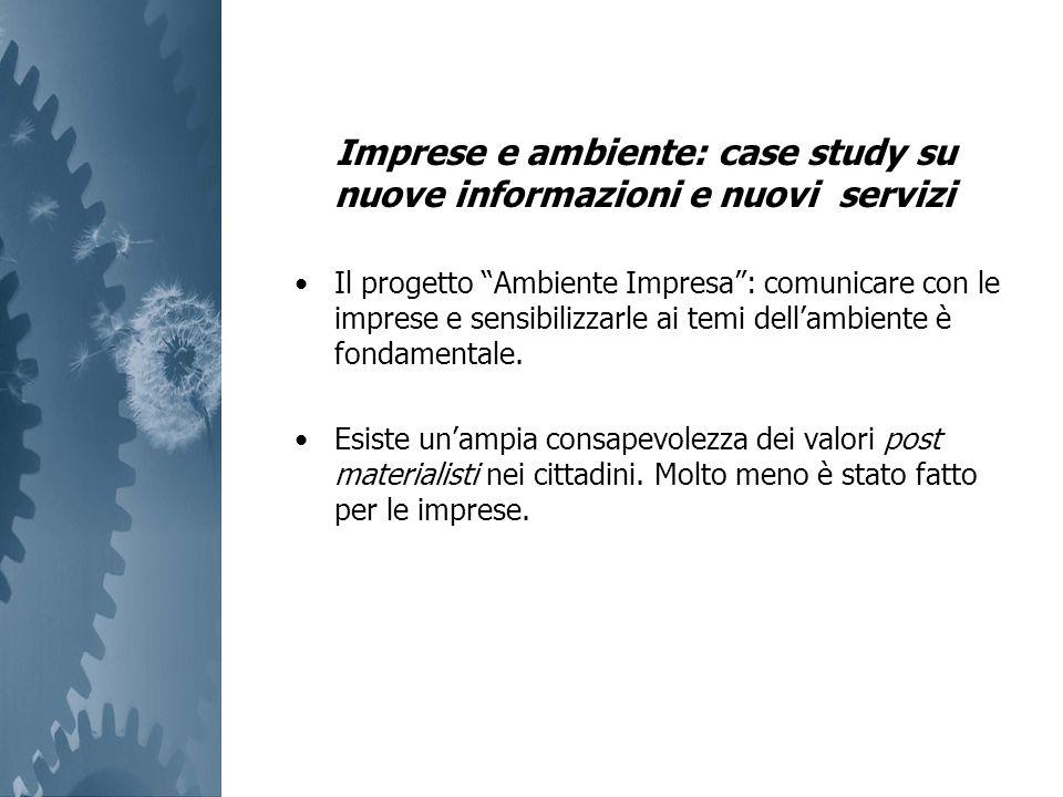 Imprese e ambiente: case study su nuove informazioni e nuovi servizi Il progetto Ambiente Impresa: comunicare con le imprese e sensibilizzarle ai temi