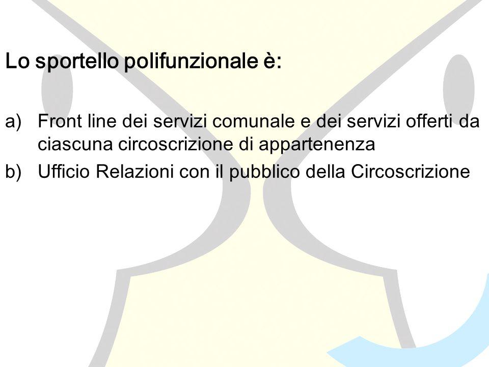 Lo sportello polifunzionale è: a)Front line dei servizi comunale e dei servizi offerti da ciascuna circoscrizione di appartenenza b)Ufficio Relazioni con il pubblico della Circoscrizione