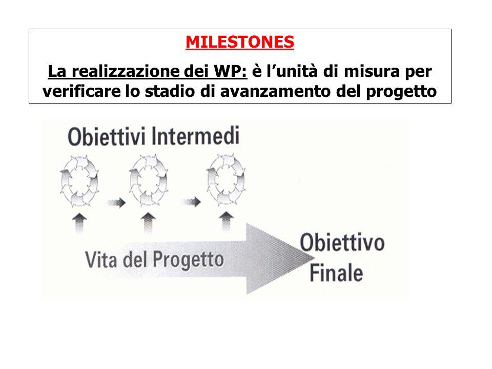 MILESTONES La realizzazione dei WP: è lunità di misura per verificare lo stadio di avanzamento del progetto