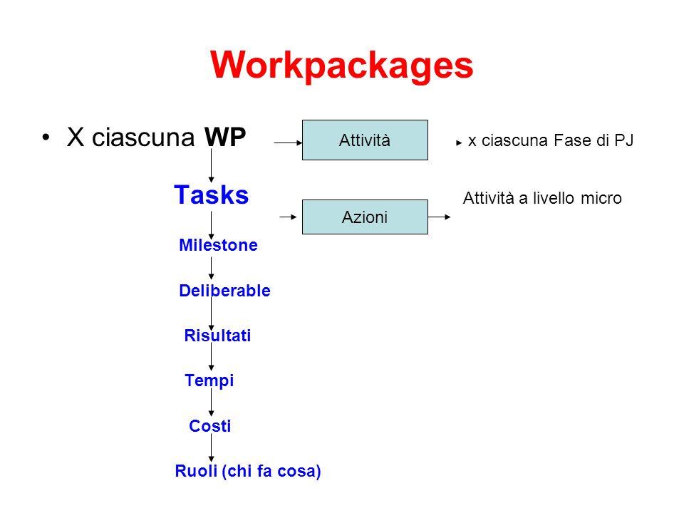 Workpackages X ciascuna WP x ciascuna Fase di PJ Tasks Attività a livello micro Milestone Deliberable Risultati Tempi Costi Ruoli (chi fa cosa) Attivi