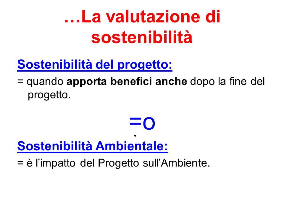 …La valutazione di sostenibilità Sostenibilità del progetto: = quando apporta benefici anche dopo la fine del progetto. =o Sostenibilità Ambientale: =
