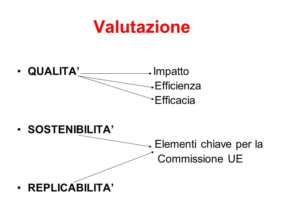 Valutazione QUALITA Impatto Efficienza Efficacia SOSTENIBILITA Elementi chiave per la Commissione UE REPLICABILITA