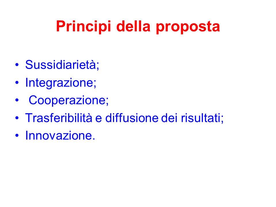 Principi della proposta Sussidiarietà; Integrazione; Cooperazione; Trasferibilità e diffusione dei risultati; Innovazione.