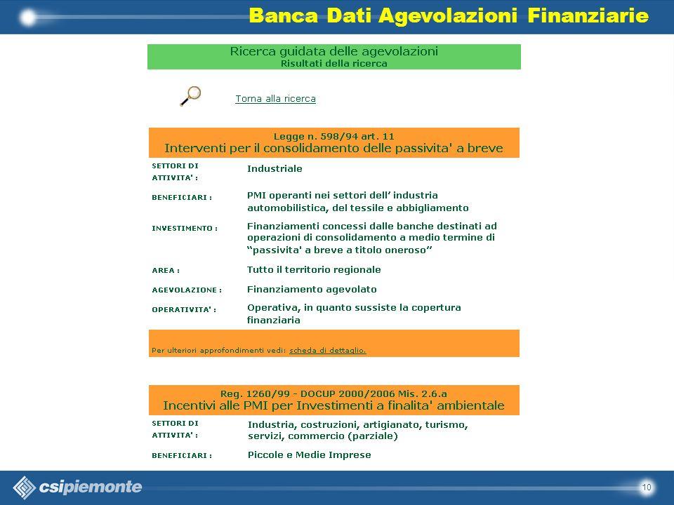 10 Banca Dati Agevolazioni Finanziarie
