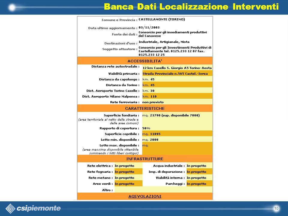 10 Banca Dati Localizzazione Interventi