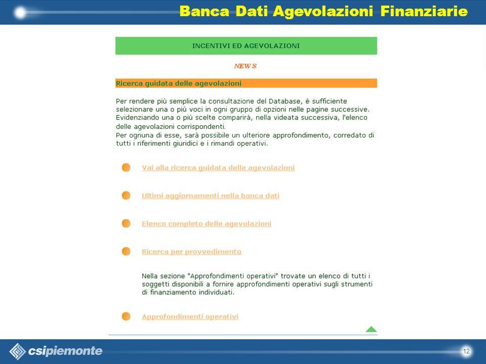 12 Banca Dati Agevolazioni Finanziarie