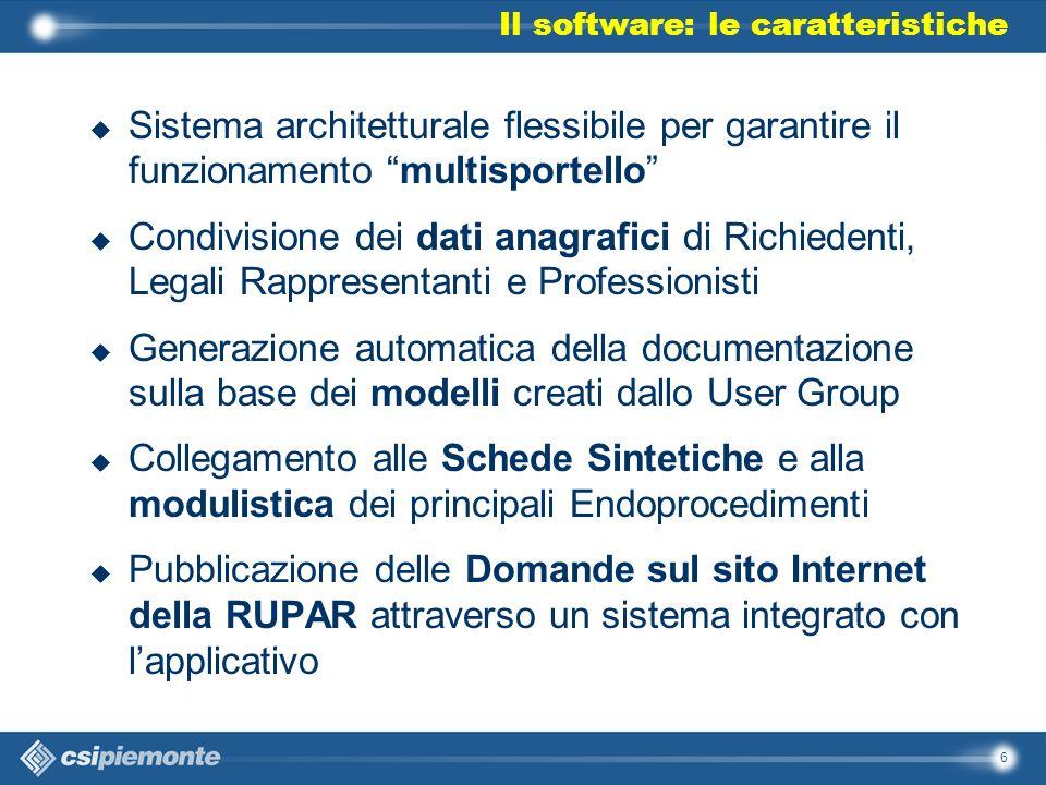 6 u Sistema architetturale flessibile per garantire il funzionamento multisportello u Condivisione dei dati anagrafici di Richiedenti, Legali Rapprese