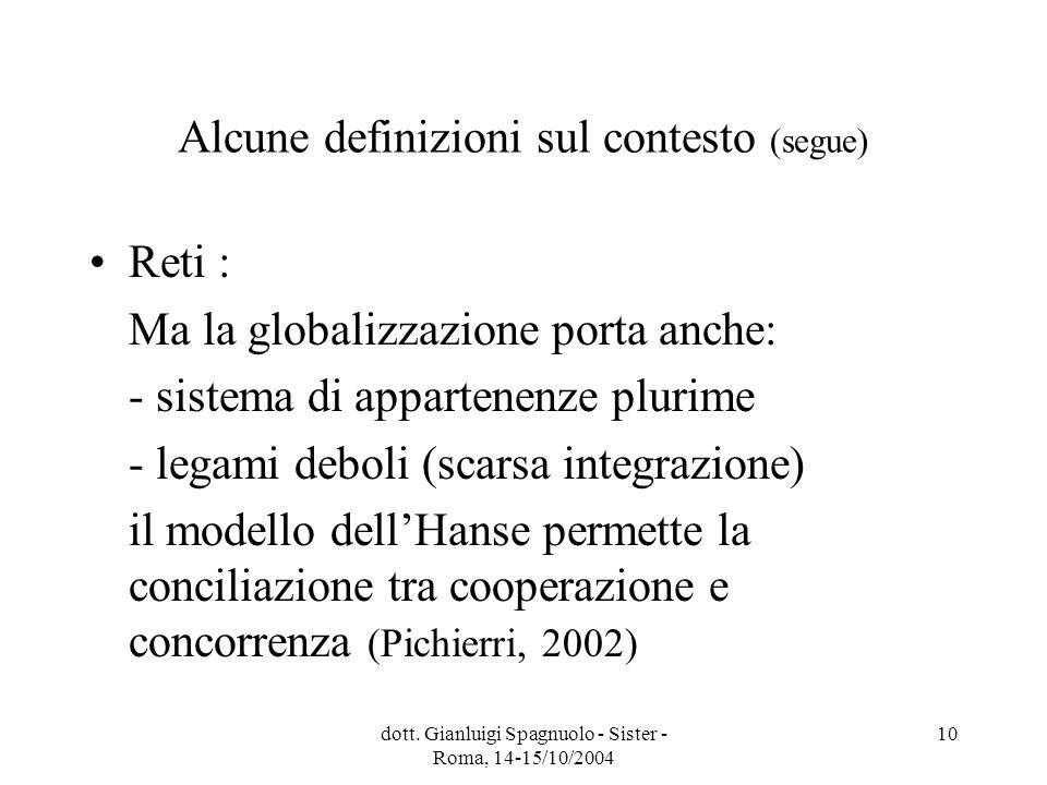dott. Gianluigi Spagnuolo - Sister - Roma, 14-15/10/2004 10 Alcune definizioni sul contesto (segue) Reti : Ma la globalizzazione porta anche: - sistem